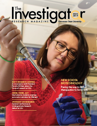 Photo of the cover of The Investigator Research Magazine produced by the Office of Research with design and production provided by the Office of Strategic Communications and Marketing